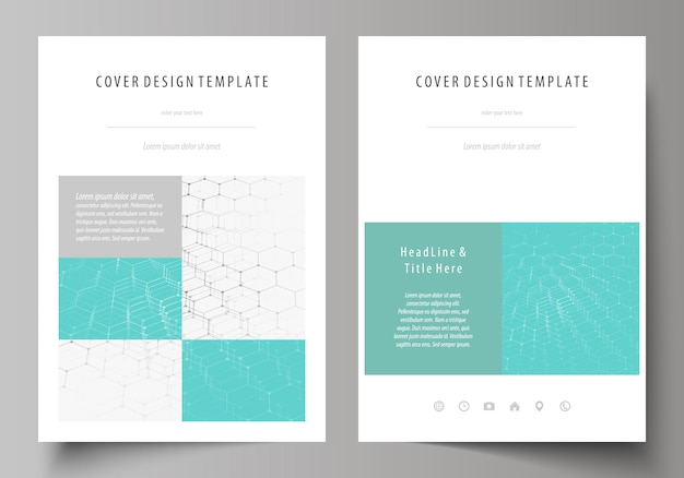 Business cover template with hexagonal molecule structure