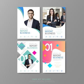 Business covers annual report brochure geometric forms
