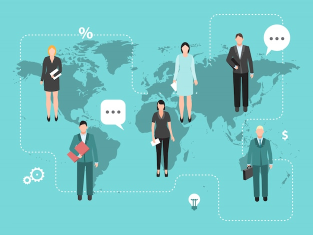 Business coworking on the world map vector illustration.