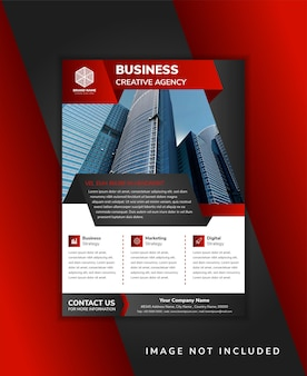 ビジネスクリエイティブエージェンシーのチラシテンプレートデザインは、垂直レイアウトを使用しています。ペーパーカットスタイルの対角要素は、黒と赤の色のグラデーションを使用します。写真とインフォグラフィックのためのスペースと白い背景。