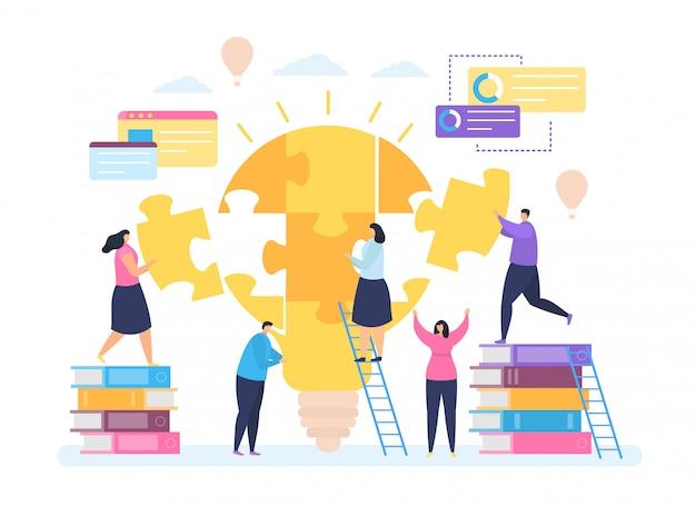 ビジネスの創造的なアイデア、漫画の小さな人々が一緒に働く、白の電球のパズル要素を接続します