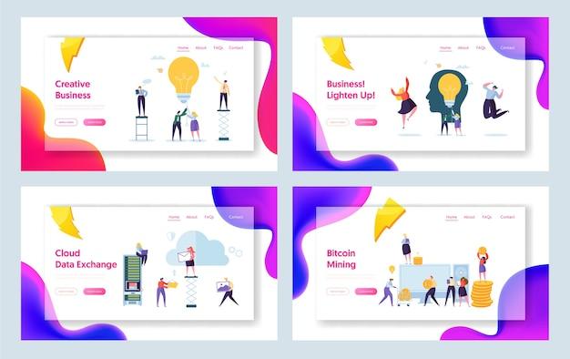 비즈니스 창의적인 아이디어 캐릭터 개념 방문 페이지 세트. bitcoin cryptocurrency 성공 사람들 팀워크. 웹 사이트 또는 웹 페이지를위한 시작 커뮤니케이션 관리. 플랫 만화 벡터 일러스트 레이션