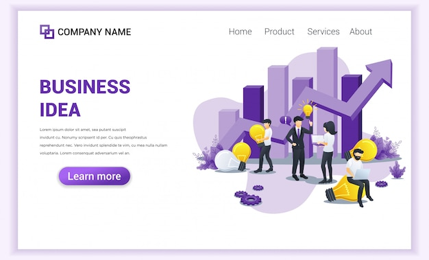 Business creative idea landing page.