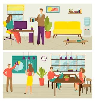 비즈니스 창조적 인 팀웍 배너 그림의 집합입니다. 사무실, 창의성, 커뮤니케이션 및 협력 개념에서 팀에서 일하는 사람들. 작업을 논의하는 창조적 인 사업가.