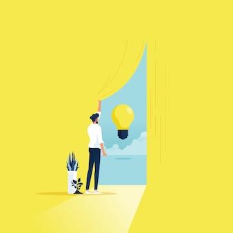 새로운 아이디어를 얻으려고 커튼을 열고 사업가와 비즈니스 창의력과 솔루션 벡터 개념 찾기