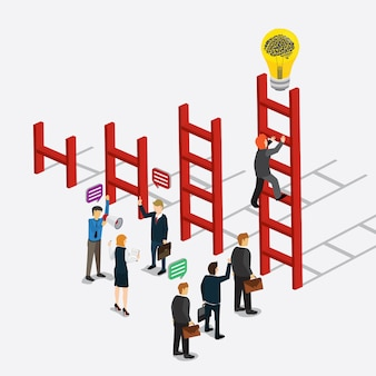 Business creativity with climbing stairs of idea