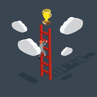 Business creativity with climbing stairs of win