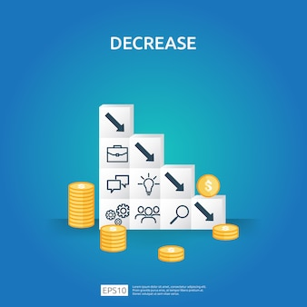 Business crisis concept. money fall down with arrow decrease symbol on stacking block. economy stretching drop, global lost bankrupt. cost declining reduction or loss of income with pile dollar coins