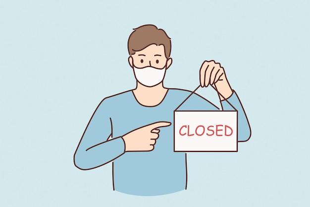 전염병 개념 동안 비즈니스 위기입니다. covid 전염병 개념 벡터 일러스트레이션 동안 닫힌 단어로 기호를 보여주는 보호용 의료 마스크를 쓴 슬픈 젊은이