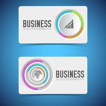 灰色の丸いボタン、カラフルなリングとアイコンで設定されたビジネスカード