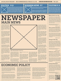 Business daily newspaper template with one page