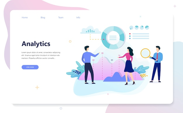 Business data analysis and analytics concept illustration