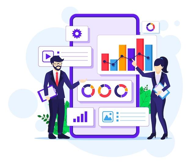 Концепция анализа бизнес-данных, люди работают перед плоской векторной иллюстрацией большого мобильного телефона