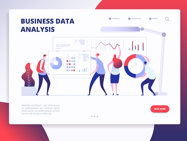 Business data analysis landing page template