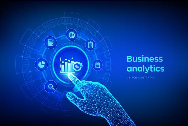 仮想画面上のビジネスデータ分析とロボットプロセス自動化の概念。デジタルインターフェースに触れるロボットの手。