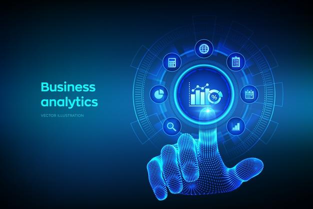 Аналитика бизнес-данных и концепция автоматизации роботизированных процессов на виртуальном экране. касаясь цифрового интерфейса руки wireframe.