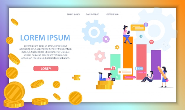 Business data analytics company vector website