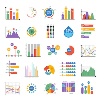 Business data graph analytics vector elements