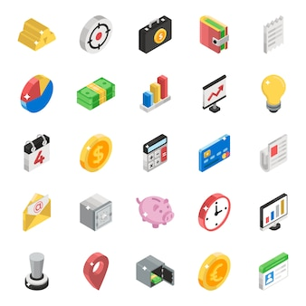 Business data isometric icons pack