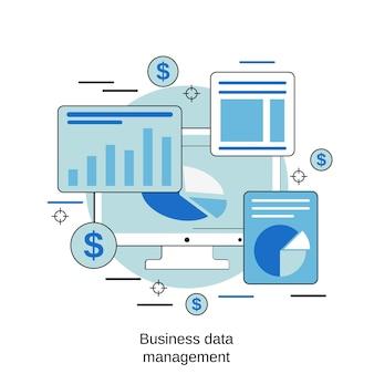 비즈니스 데이터 관리 평면 디자인 스타일 벡터 개념 그림