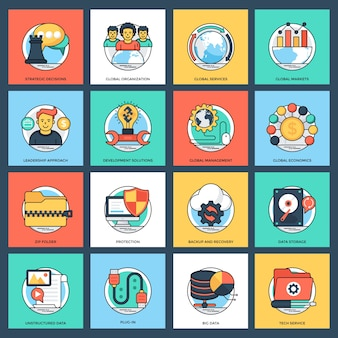 Business and data management vector icons