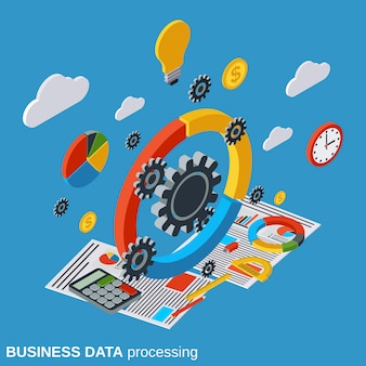 Business data processing flat isometric vector concept illustration