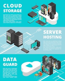 Business data protection. network equipment and telecommunications. server database storage, data center vector banner template