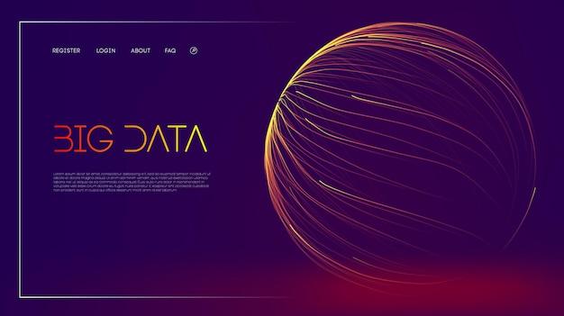ビジネスデータ構造分析デジタルデータストリームの視覚化ベクトル3dラインエネルギーフロー