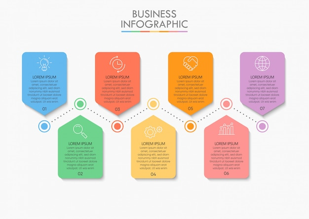 Business data timeline infographic step icons