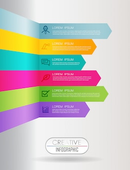Business data visualization colorful timeline infographic template vector illustration