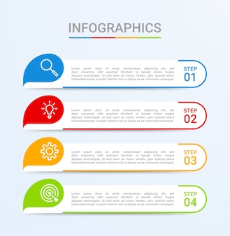 Business data visualization, infographic template with 4 steps on blue background