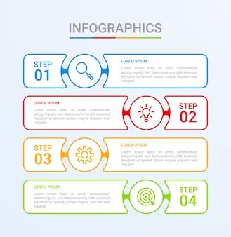 Визуализация бизнес-данных, шаблон инфографики с 4 шагами на синем фоне
