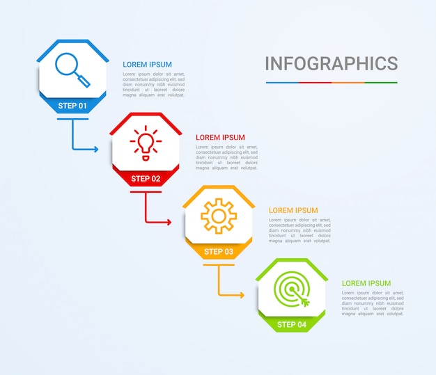 Business data visualization, infographic template with 4 steps