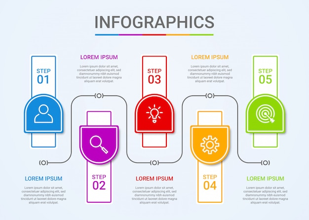 Business data visualization, infographic template with 5 steps on blue