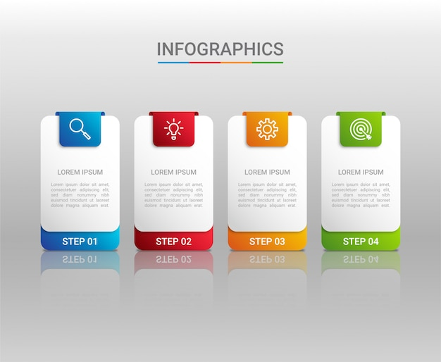 Business data visualization, infographic template with  steps on gray background,  illustration