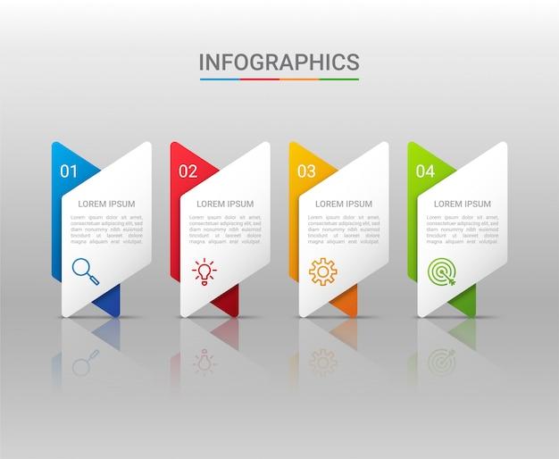 Визуализация бизнес-данных, инфографики шаблон с шагами на сером фоне, иллюстрация