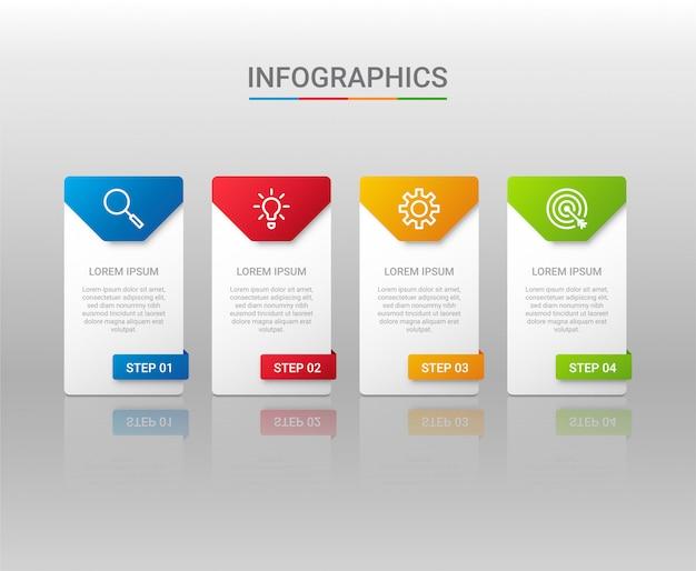 ビジネスデータの可視化、灰色の背景、イラストの手順とインフォグラフィックテンプレート