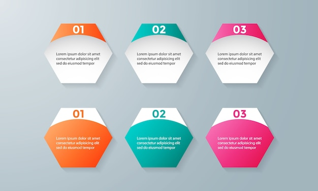 Business data visualization infographics options step set