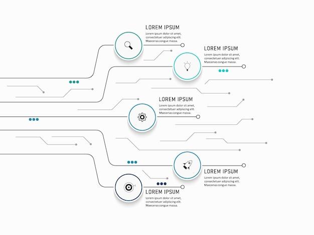 Визуализация бизнес-данных. схема процесса. абстрактные элементы графика, диаграммы с шагами, вариантами, частями или процессами. бизнес-шаблон. креативная концепция для инфографики.