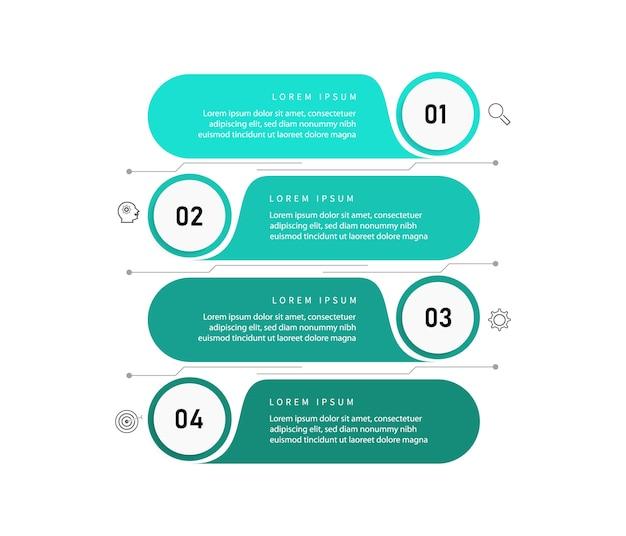 Визуализация бизнес-данных. элемент диаграммы процесса. абстрактный график с диаграммой с вариантами шагов, частями или процессами. бизнес-шаблон. креативная концепция для инфографики.