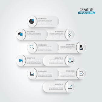ビジネスデータの視覚化。紙のチャートを処理します。グラフの抽象的な要素、10ステップの図。