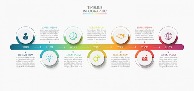 Business data visualization timeline infographic icons design