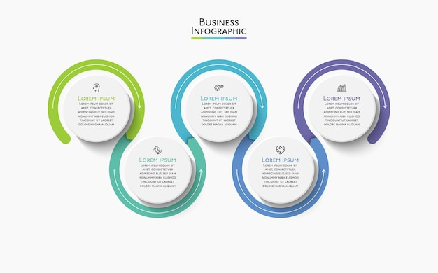 抽象的な背景テンプレート用に設計されたビジネスデータ視覚化タイムラインインフォグラフィックアイコン