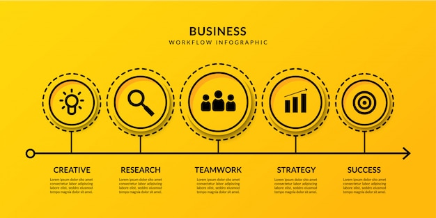 Business data visualization with multiple options, outline timeline infographic workflow template