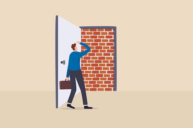 Business dead end, no way to exit or big mistake and wrong decision, obstacle and difficulty to overcome concept, businessman open exit door and found brick wall blocking the way.