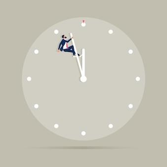 時計の文字盤に掛かっているビジネスマンとビジネスの締め切りベクトルの概念時間管理のシンボル