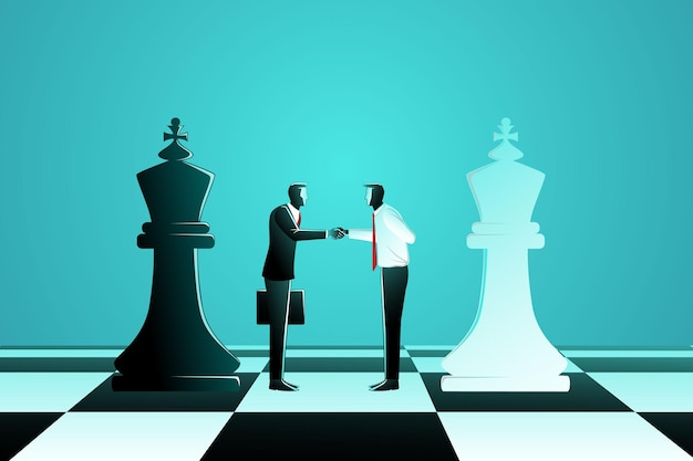 黒のキングチェスと白のキングチェスを持つ2人のビジネスマン間の商取引