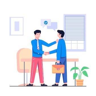 Иллюстрация концепции коммерческой сделки плоская