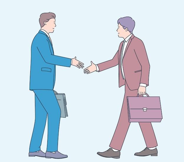 비즈니스 거래 계약 계약 지원 협력 관리 새로운 직업 개념. 두 사람이 남자 사업가 사무실 근로자 문자 악수. 평면 그림.