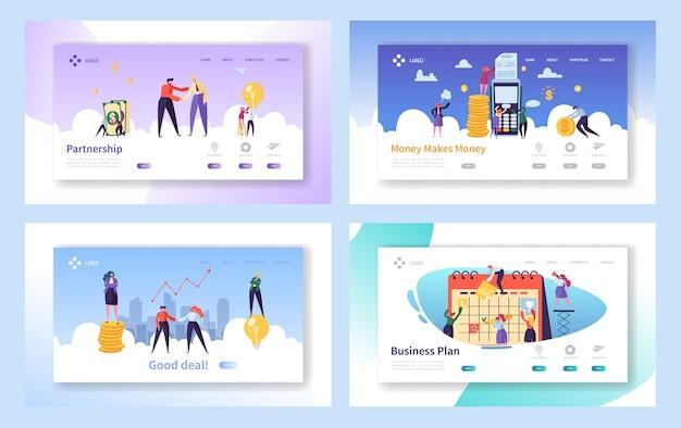 비즈니스 거래 핸드 셰이크 개념 방문 페이지 집합입니다. 악수하는 기업인, 파트너십 거래. 사람들 작업 플래너. 팀워크 수익 창출 웹 사이트 또는 웹 페이지. 플랫 만화 벡터 일러스트 레이션